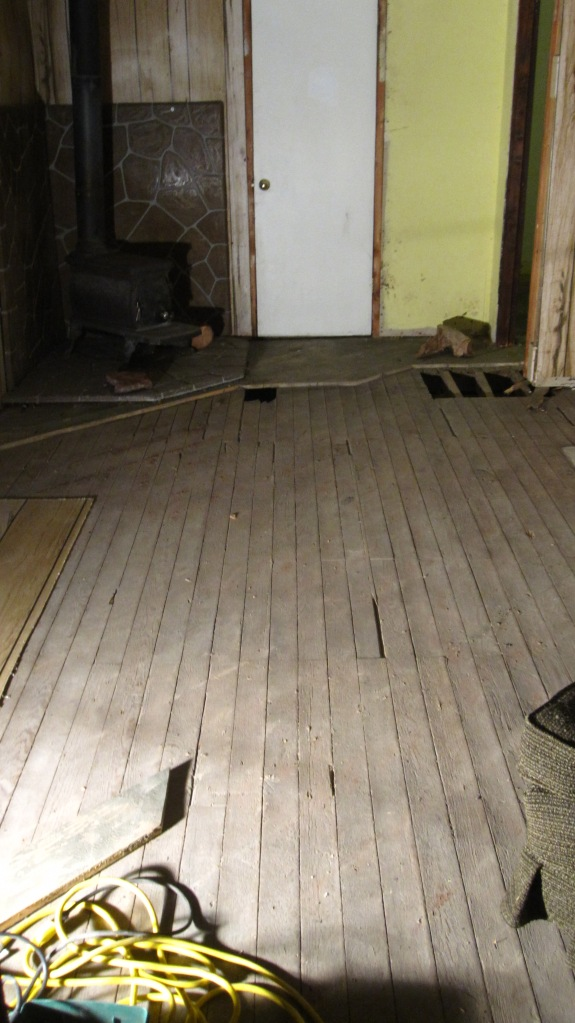 Floor removal 15 - Most of first layer of wood gone